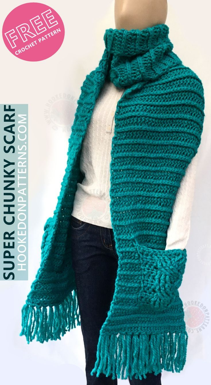 Free Crochet Pattern for a Super Chunky Scarf with Pockets ...