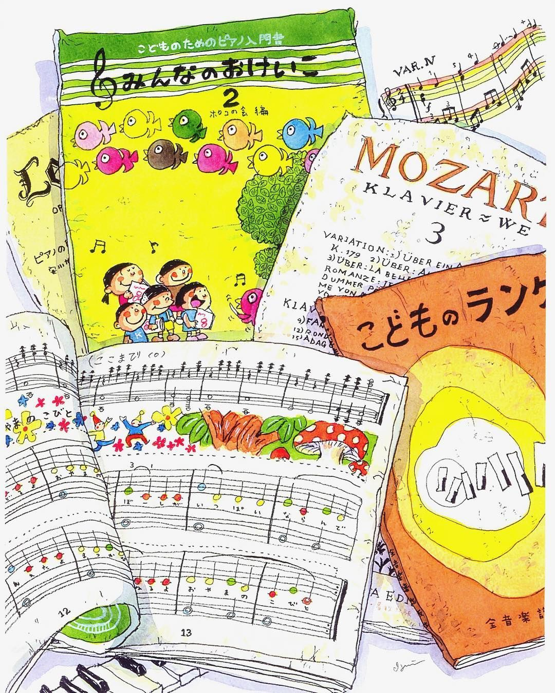 カラフルなイラストと音符は子供ながらにとっても楽しめた楽譜でした(30年以上前の)今でもモーツァルトとシューベルトをよく弾いています  No musicNo life  #sheetmusic #music #book #note #mozart #piano #colorful #楽譜 #ピアノ #音符 #紙もの #モーツァルト #カラフル by izumitakahara29