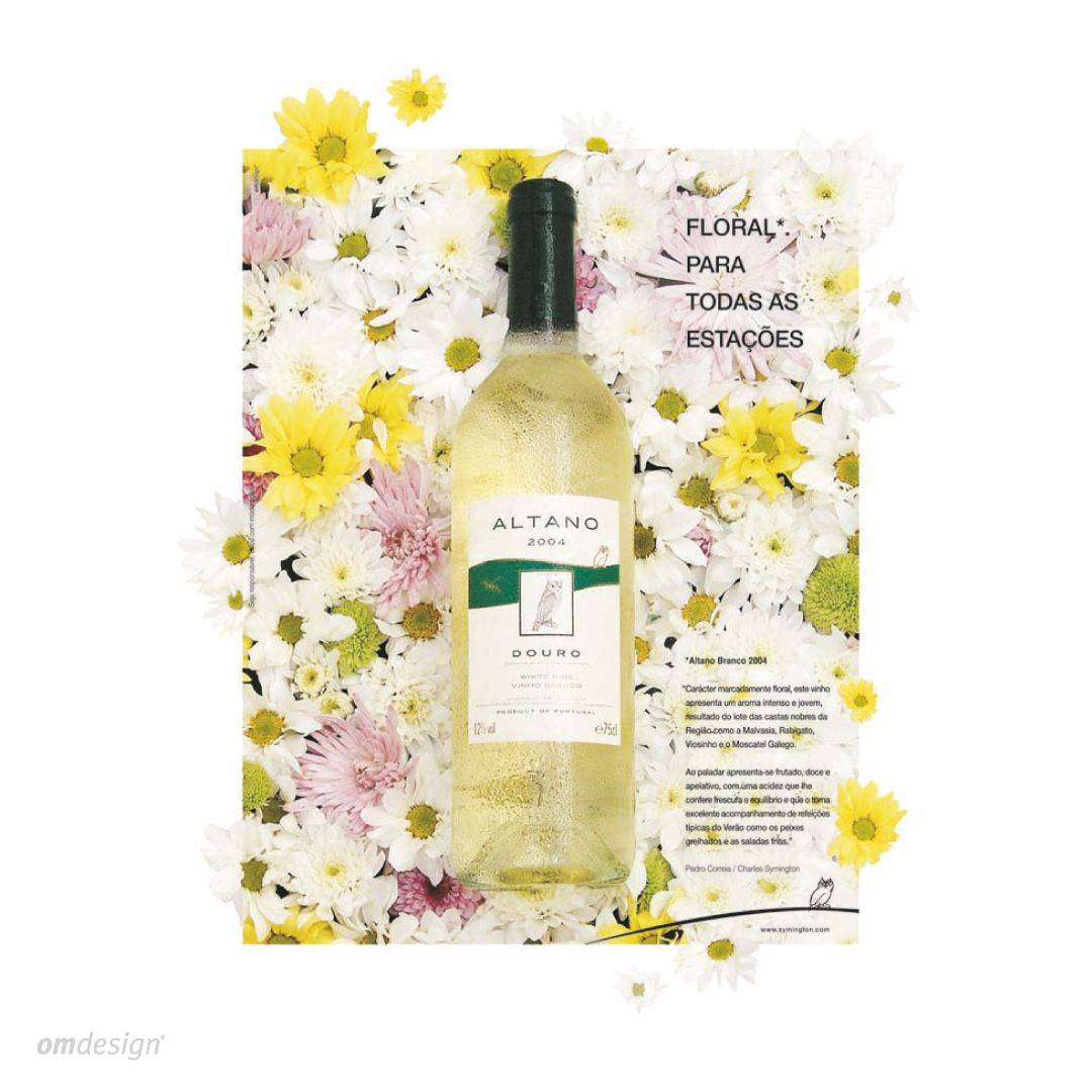 Anúncio de imprensa Altano (2004)  #Omdesign #Design #Portugal #LeçadaPalmeira #Since1998 #AwardedAgency #DesignAwards #PressAd #Symington #SymingtonFamilyEstates #Altano #VinhodoDouro #DouroWine #Douro #IVDP #PortugueseWines #WinesofPortugal #WineLovers #WineDesign