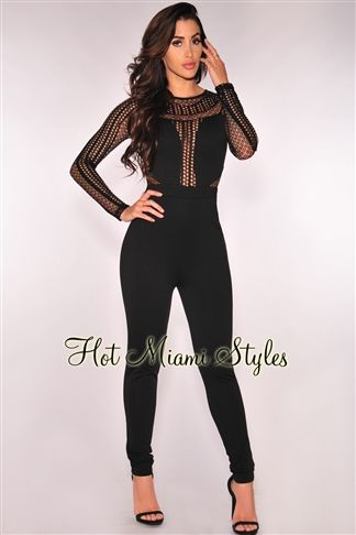 4e91bfc6dd82 Black Net Long Sleeves Jumpsuit in 2019
