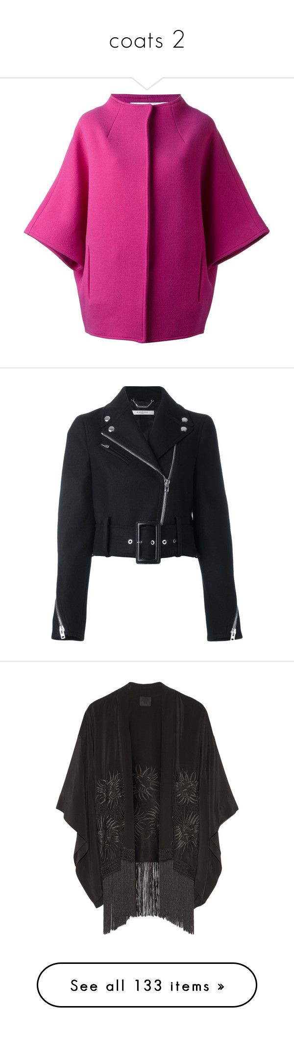 """""""coats 2"""" by leafmarie ❤ liked on Polyvore featuring outerwear, coats, purple coat, jackets, black, cropped moto jacket, rider jacket, biker jackets, long sleeve jacket and zip front jacket"""