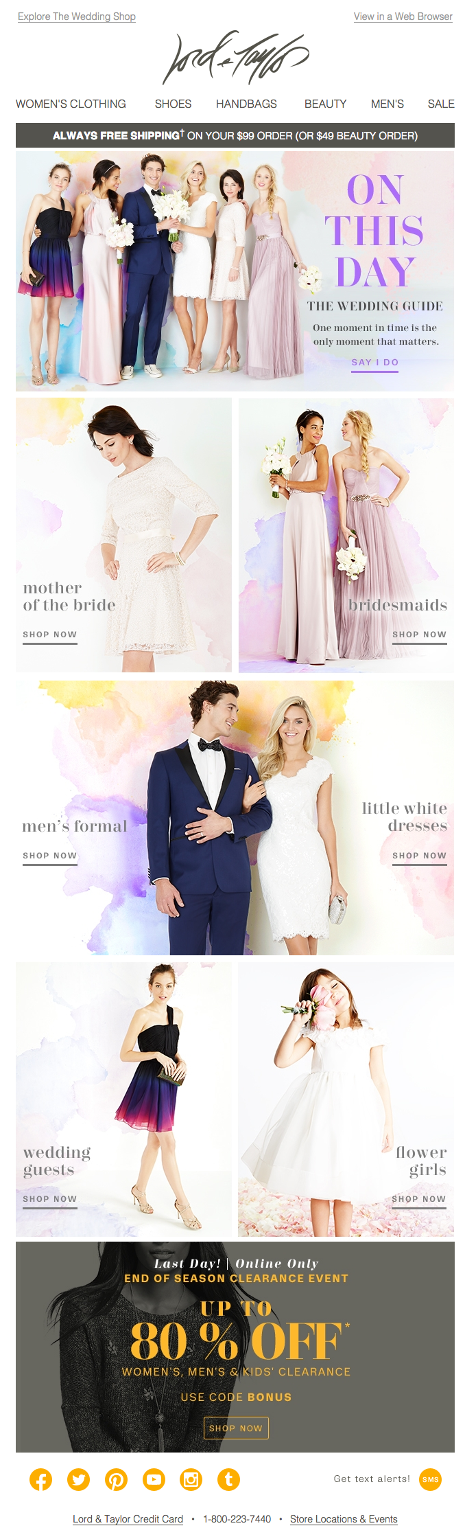 Lord & Taylor wedding email 2015