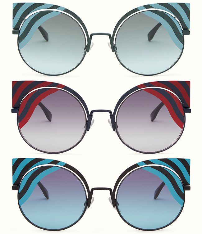 c8a3e04da429 Discover the new Fendi Hypnoshine sunglasses! The cat-eye shape eyewear  collection of the house is softened by a graphic waves print  Fendi  Look    001