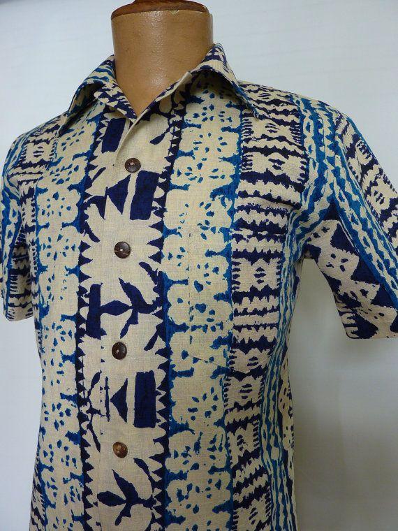 Jantzen Men's Cabana Shirt L in Navy 7XEOm3dq