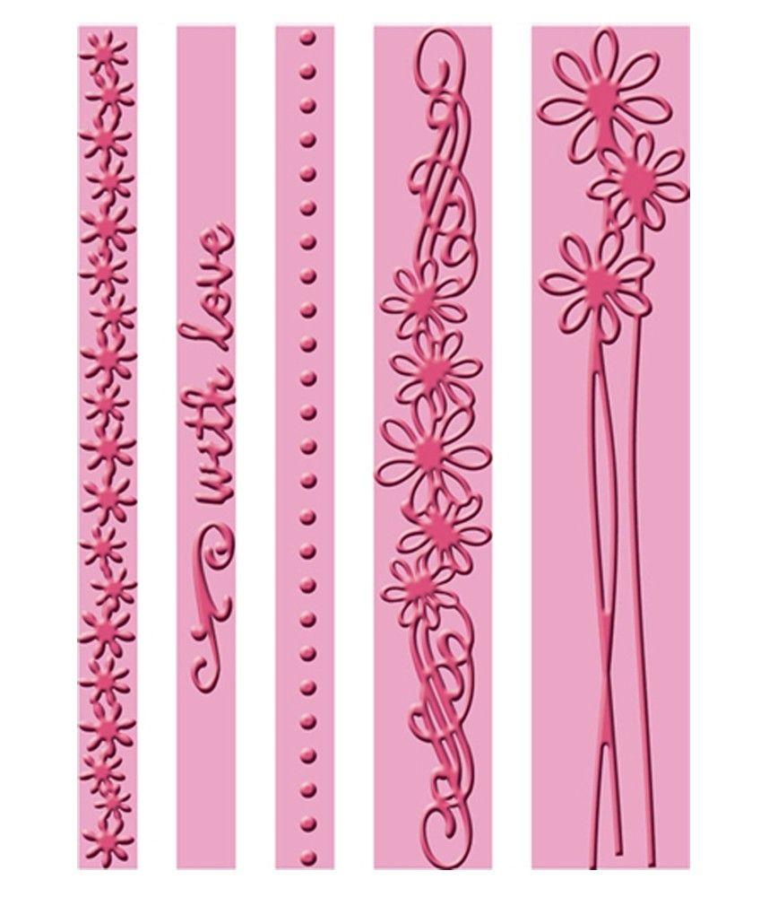 Lifestyle crafts embossing folders - Cricut Cuttlebug A2 Border With Love Emboss Folder Set