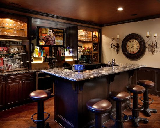Home Bar Counters And The Designs Depend On Space: Mediterranean Brown Home  Bar Counters With