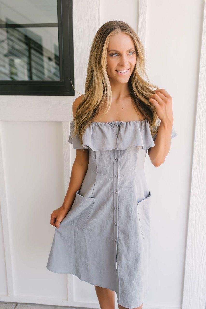 036fd469f12e Off the Shoulder Button Down Dress - Grey
