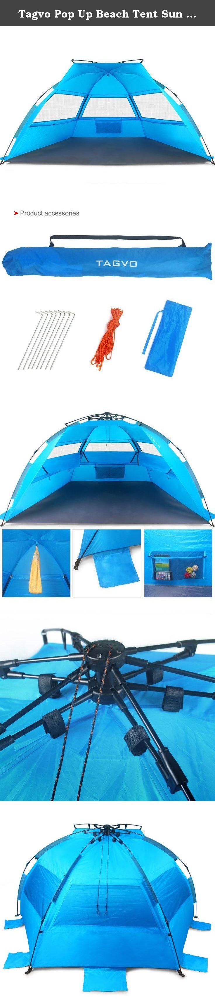 Tagvo Pop Up Beach Tent Sun Shelter Easy Set Tear Down Fibergl Frame Lightweight