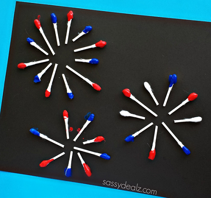 Q-Tip Fireworks Craft for Kids - Crafty Morning