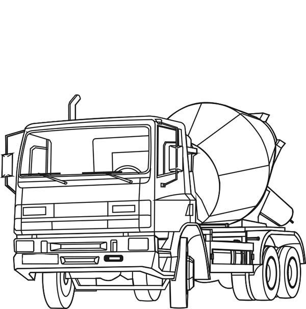 Cement Mixer On Construction Work Coloring Page Coloring Sun Cement Mixers Coloring Pages Truck Coloring Pages