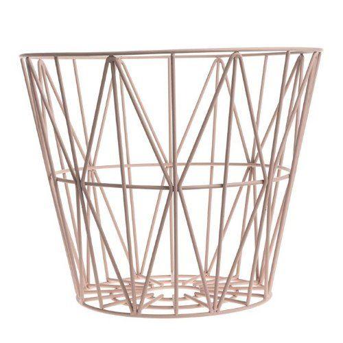 Ferm Living Korb Aufbewahrungskorb Wire Basket - Rose - Medium - drahtkoerbe stauraum ideen einrichtung
