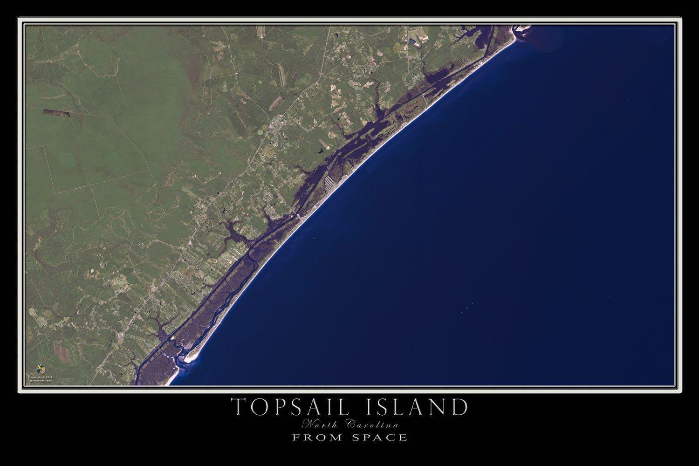 The Topsail Island North Carolina Satellite Poster Map ... on topsail island nc beach, map of topsail island nc, map of topsail island north carolina beaches, map of topsail nc area,