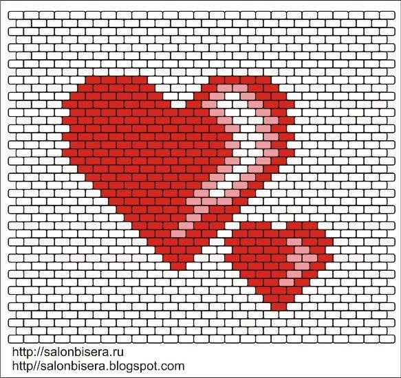 Продолжаю свои опыты по созданию схем для мозаичного плетения ( пейот).  До дня Святого Валентина еще далеко, но у меня появилась схемка с с...