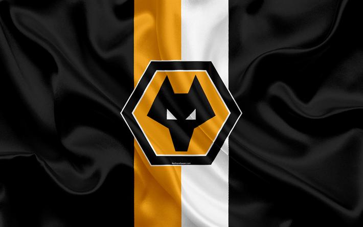 Download wallpapers Wolverhampton Wanderers FC, silk flag, emblem, logo, 4k, England, Wolverhampton, UK, English football club, Football League Championship, Wolves FC, Second League, football