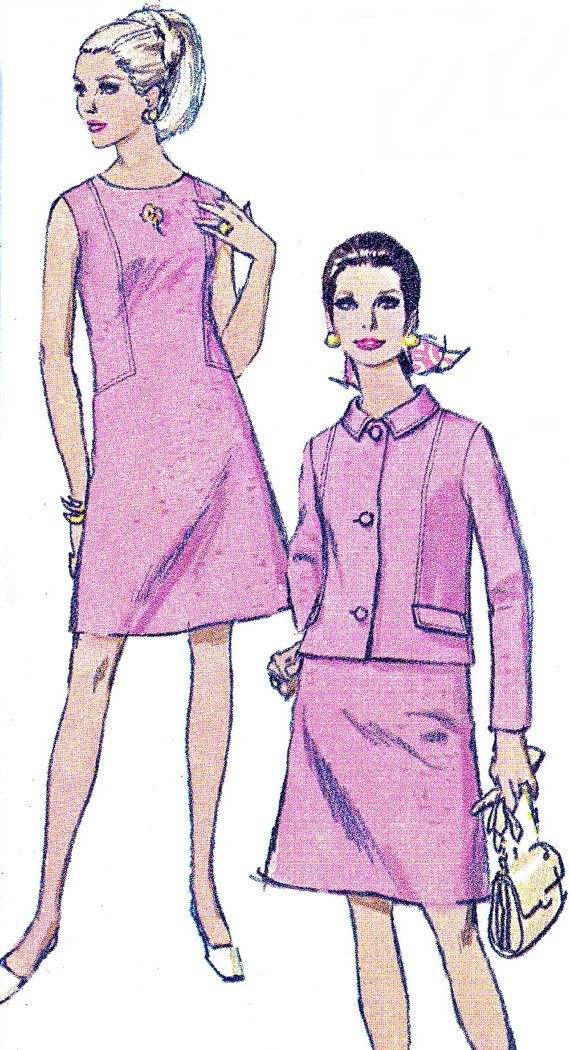 1960s Dress Pattern Simplicity 7540 Mod Sleeveless by paneenjerez ...