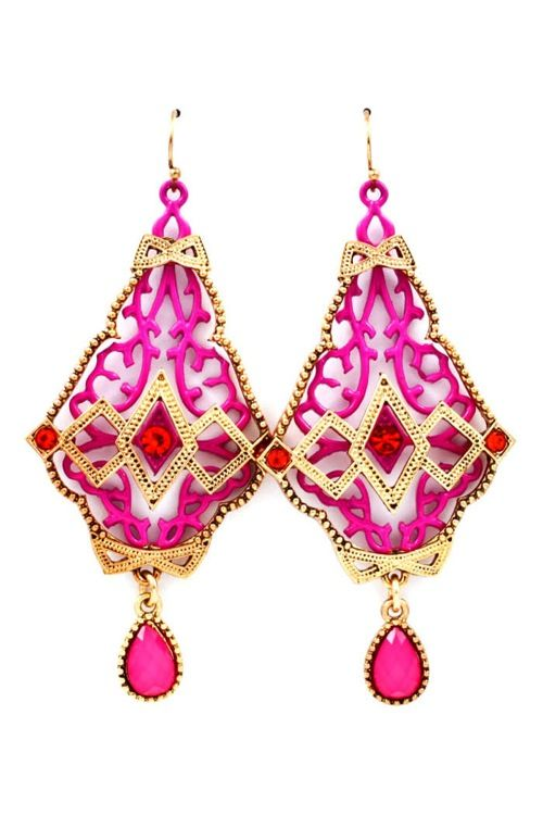 Raspberry Deco Statement Earrings on Emma Stine Limited