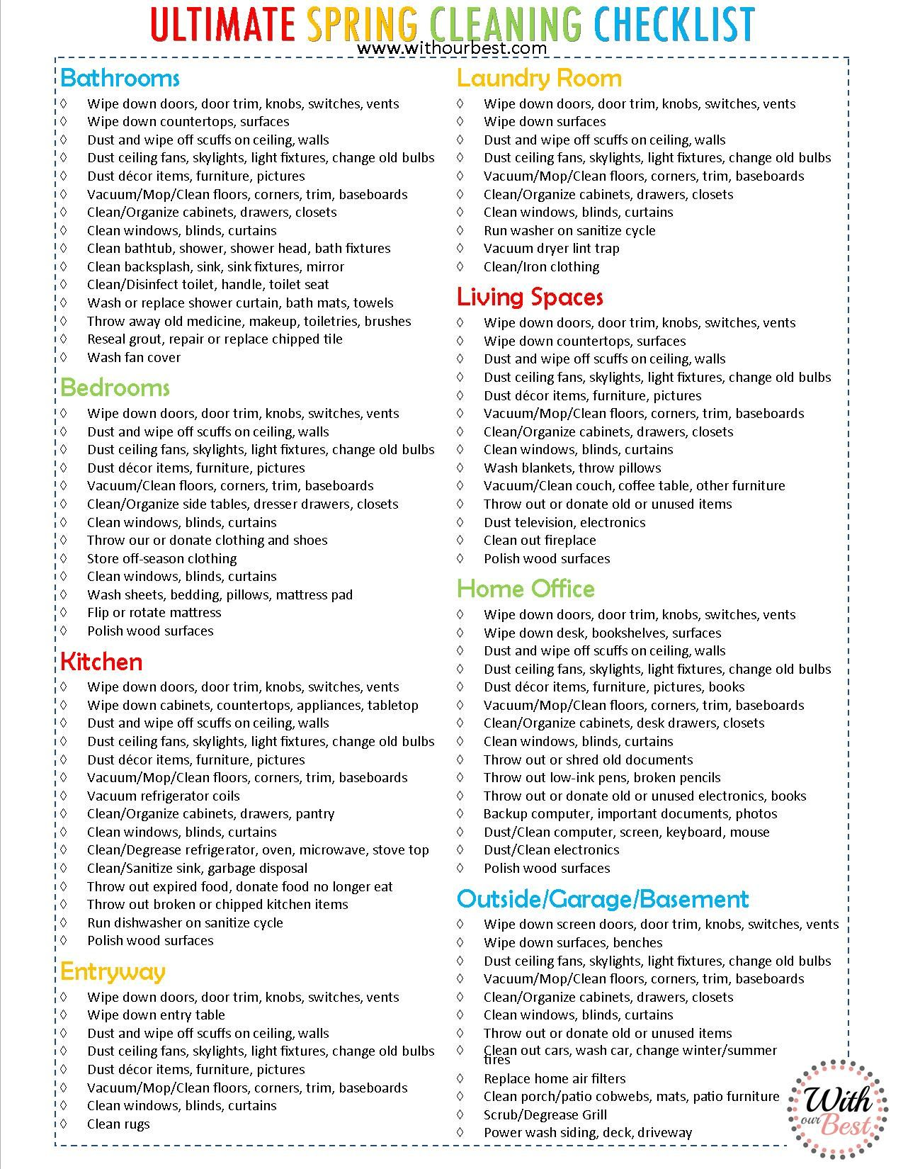 The Ultimate Spring Cleaning Checklist  Cleaning Tips  Cleaning