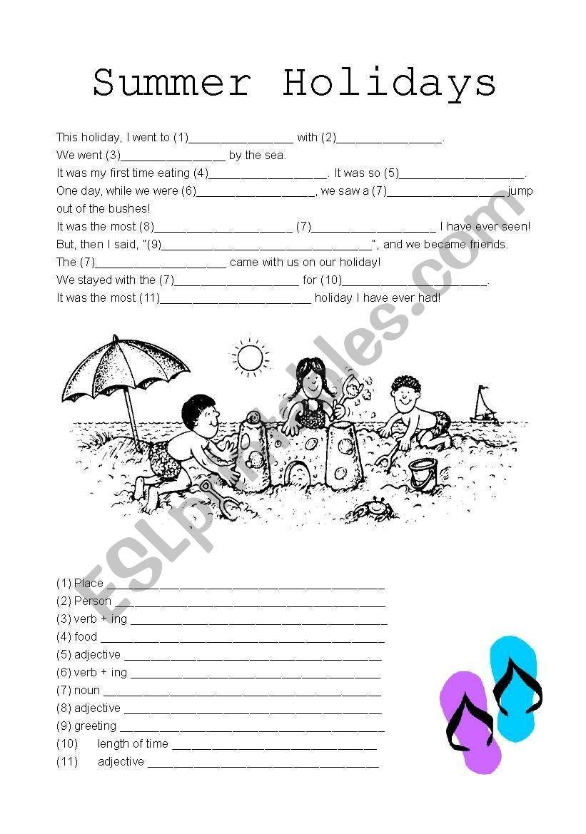 Summer Holiday Homework Worksheets For Kindergarten
