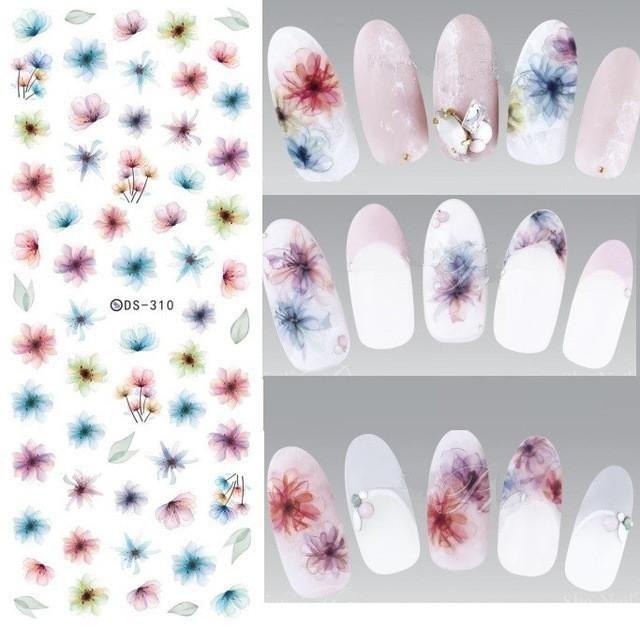 Ds255 Diy Designer Water Transfer Nails Art Sticker Colorful Purple ...