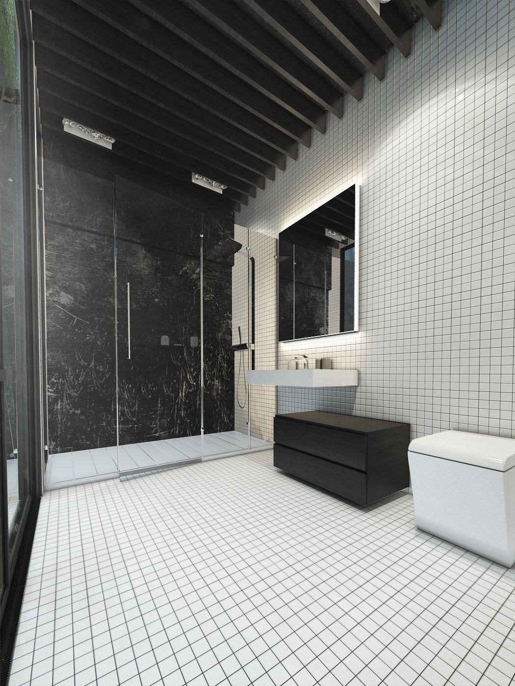 Dekorieren von dunklen und weißen Badezimmer Ideen mit einem coolen