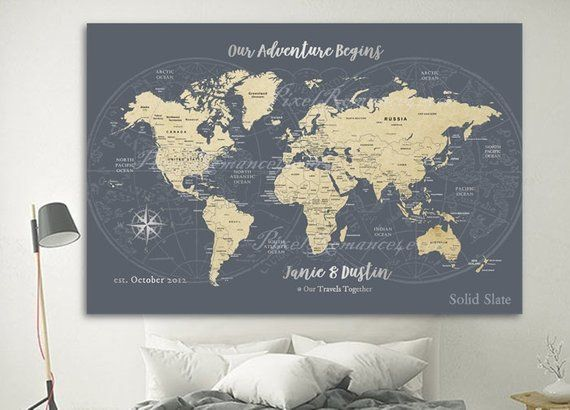 Push Pin Map World Travel Map Anniversary Gift For Him Her Wife