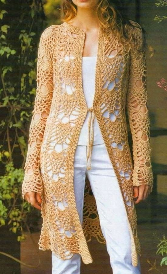 Find this Pin and more on sacos y cardigans. - Crochet Sweater: Crochet Cardigan Pattern - Gorgeous Women's Lace