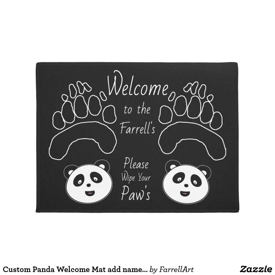 Custom Panda Mat add name wipe paws