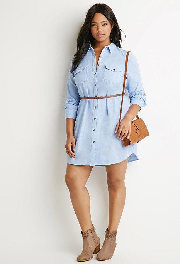 Plus Size Belted Chambray Shirt Dress Plus Size Fashion