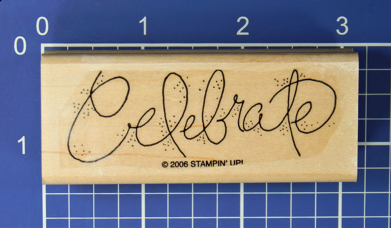 Hampton Art Live a Little Celebrate Big Wooden Rubber Stamp