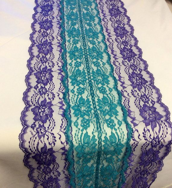 Peacock Lace Table Runner With Teal/Purple Lace, 12in Wide, Lace Overlay,