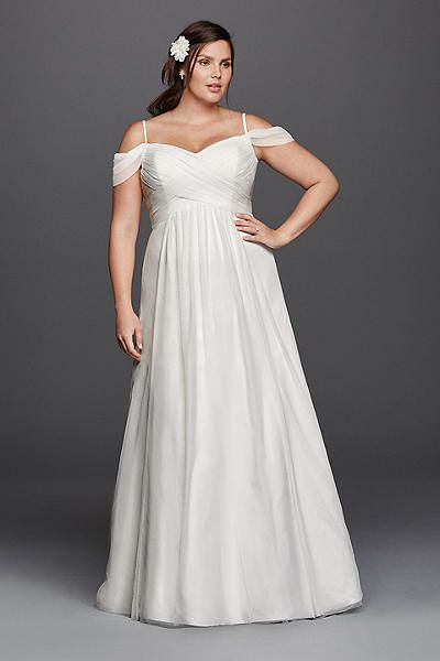 A-line Plus Size Wedding Dress with Swag Sleeves 9WG3779 | [WE ...