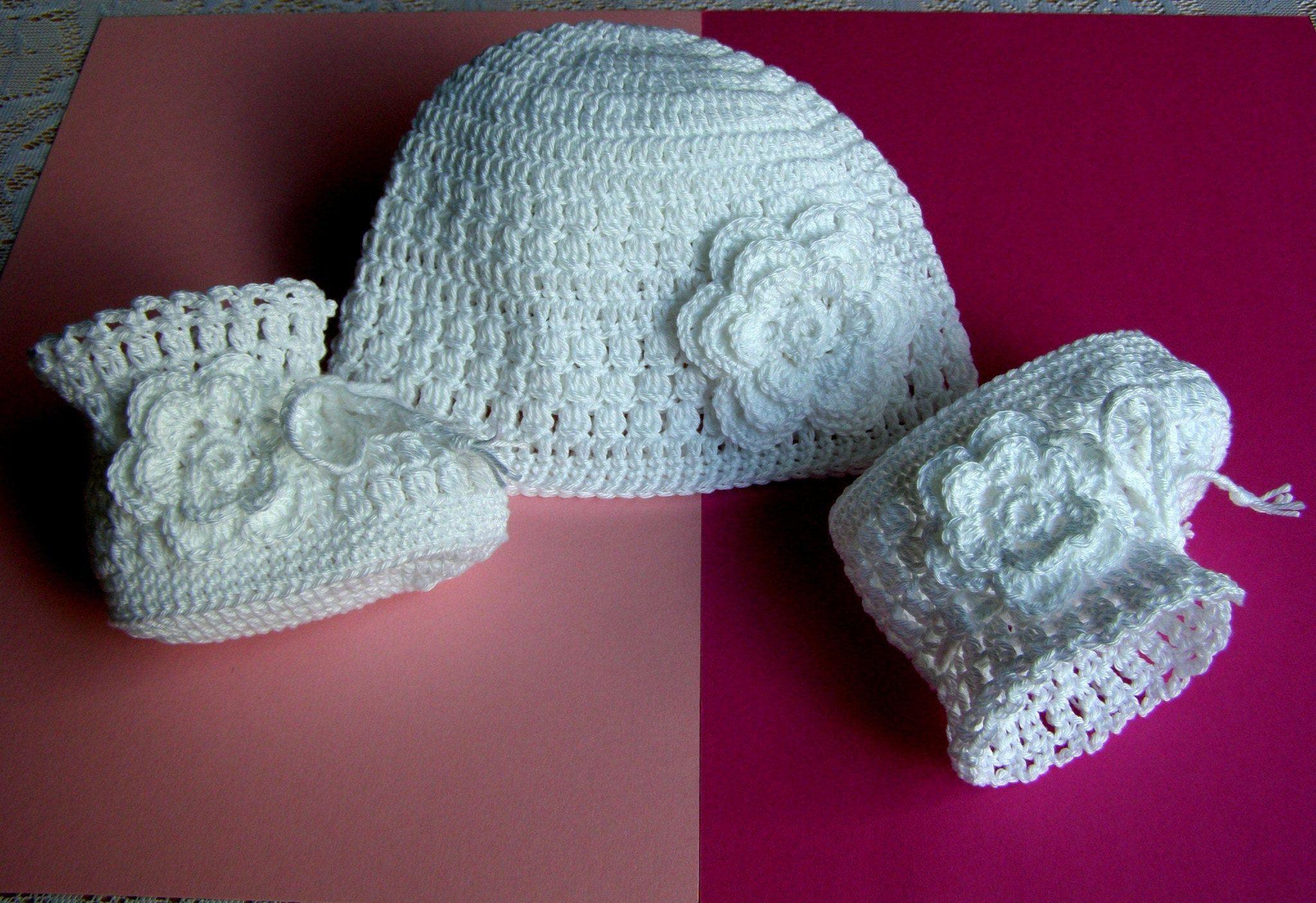 Baby Girl Girls Newborn Infant Knitted Hat Baptism Christening Hat 0-12 months