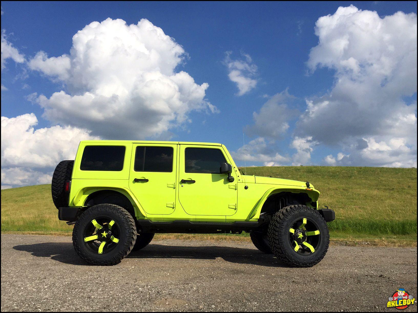 Hyper Green 2016 Jeep Wrangler On A 3 Teraflex Lift 37 Nitto Tires Stubby