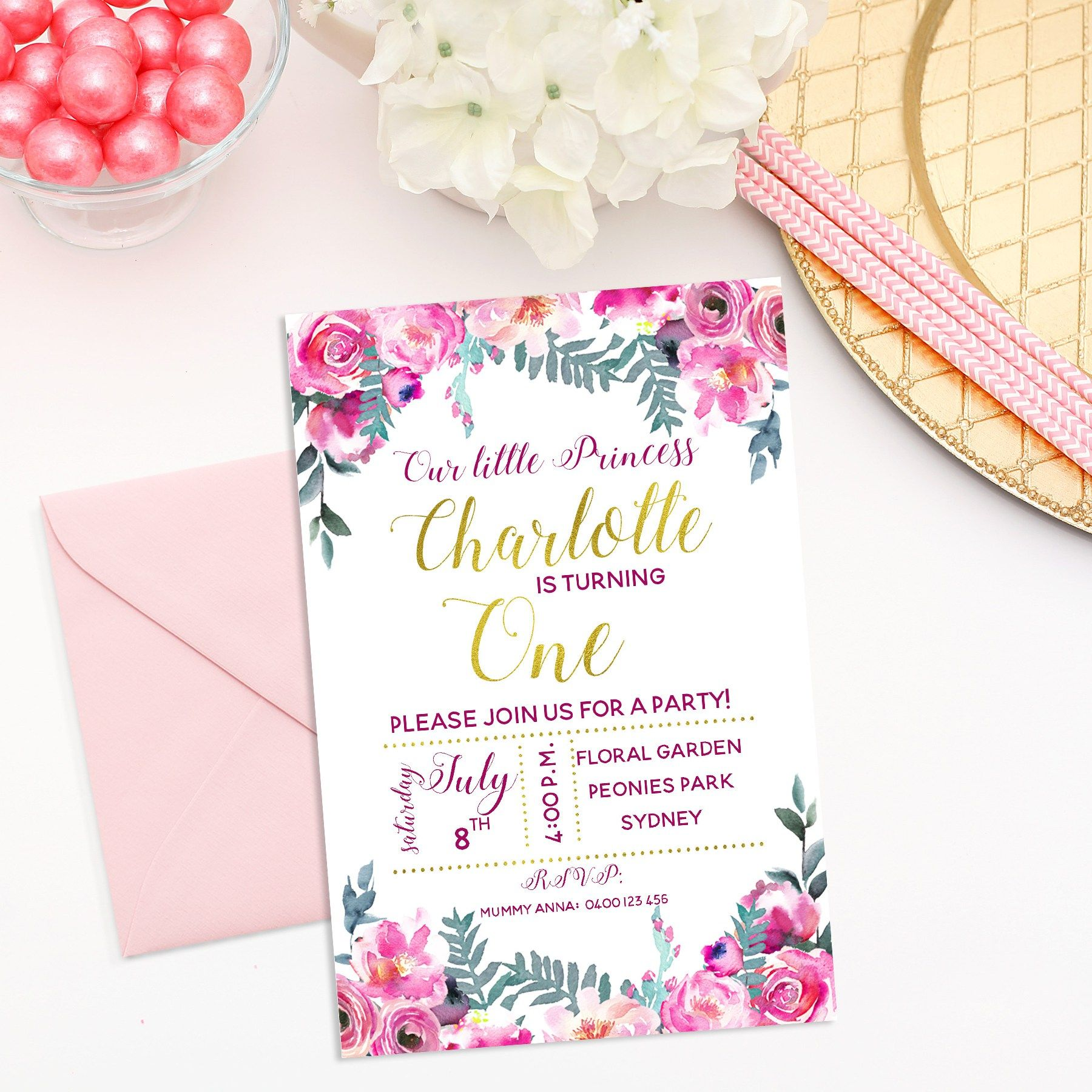 Floral Invitation - personalised invitation for your party | Floral ...