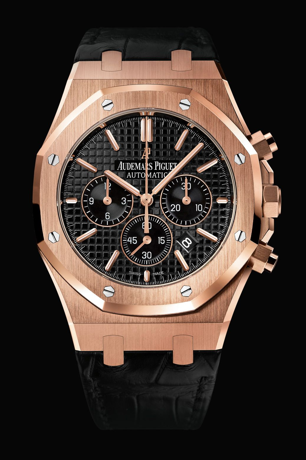 Ap Royal Oak Chronograph Pink Gold Black Dial Watches Audemars