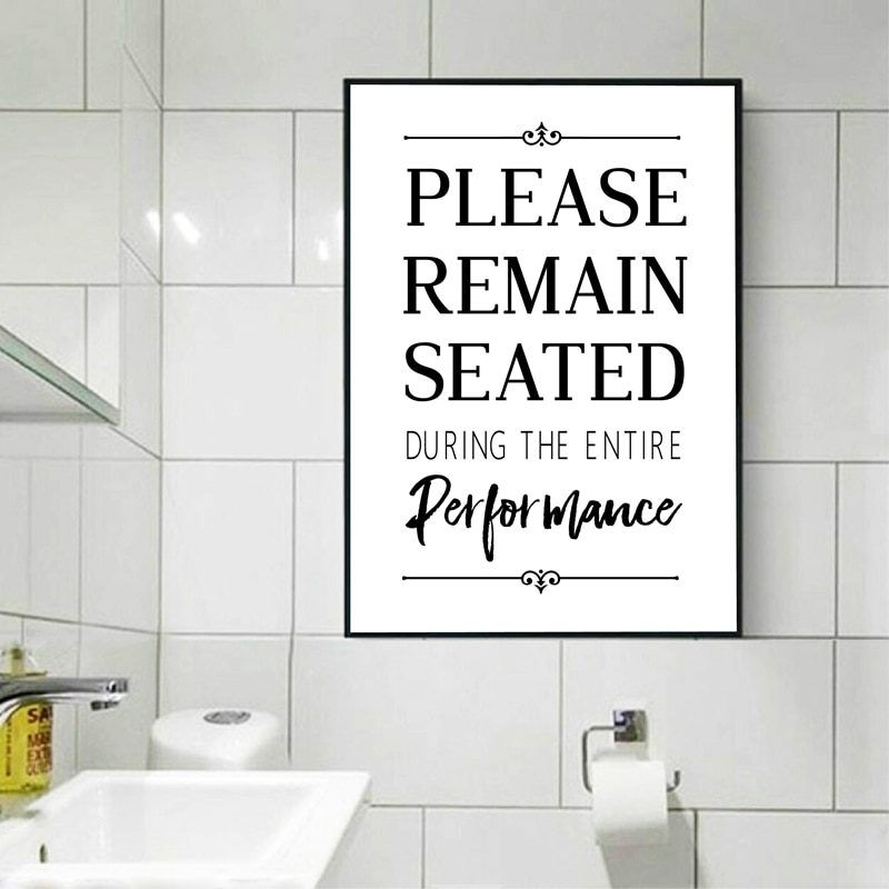 Funny bathroom sign wall art canvas painting picture