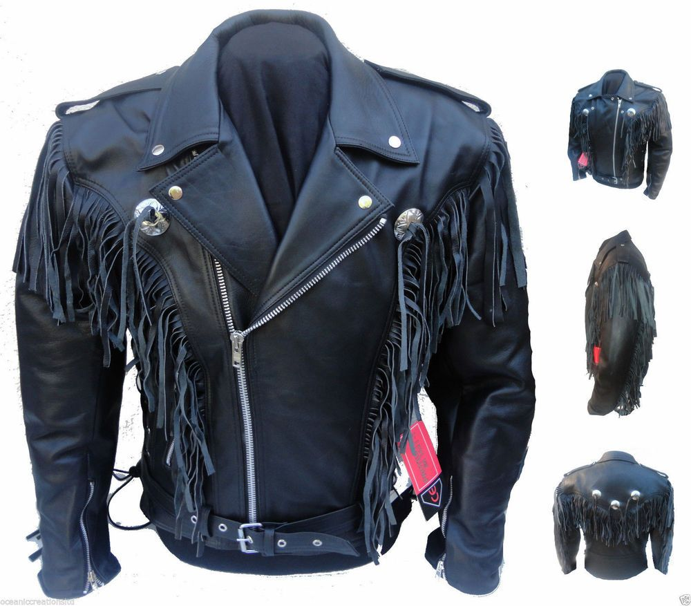 Diavolo leather motorcycle gloves - Mens Black Motorcycle Motorbike Cowboy Tassel Fringe Cruiser Leather Jacket