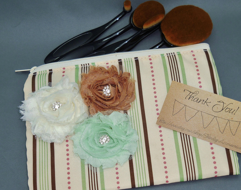 Shabby Rhinestone Flower Toiletry Bag Makeup Brush