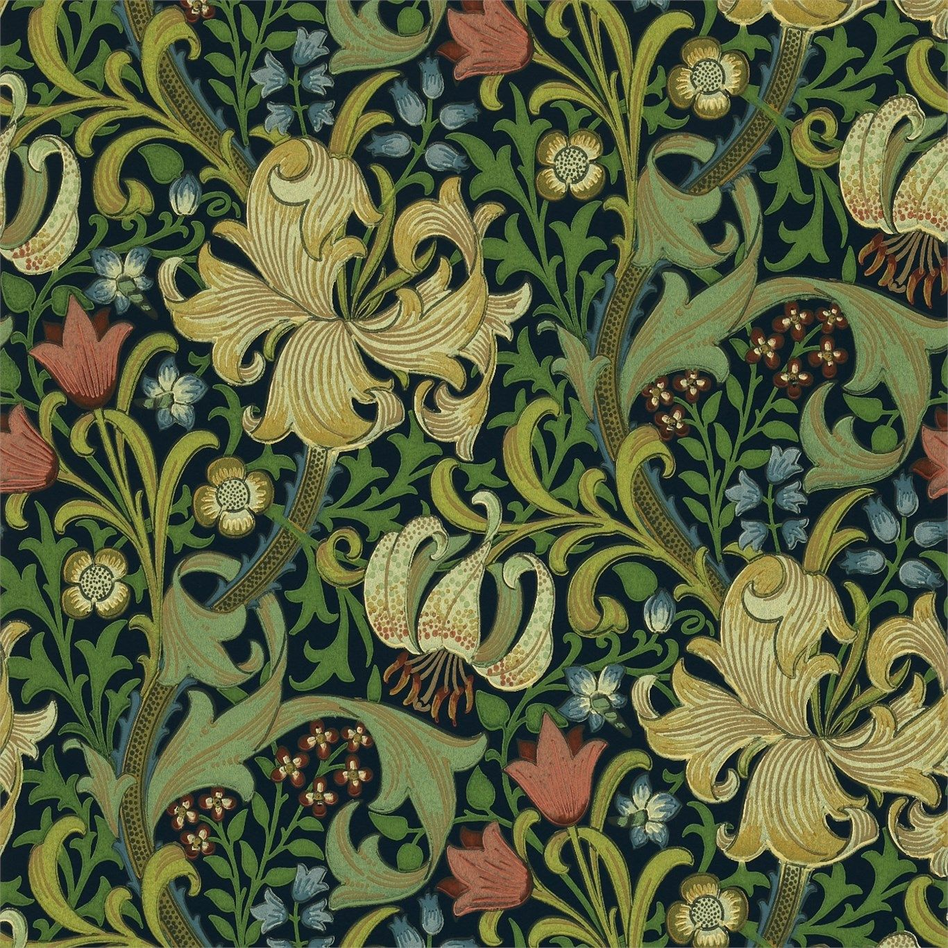 william morris golden lily indigo dining room