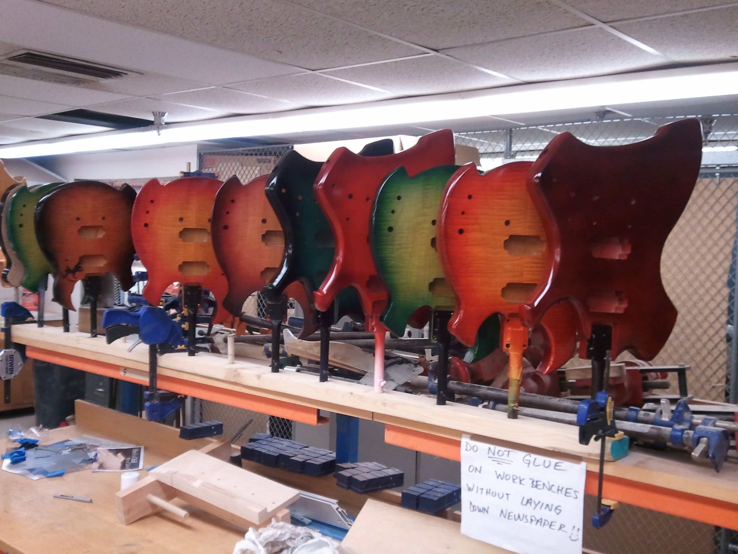 A herd of painted guitar bo s