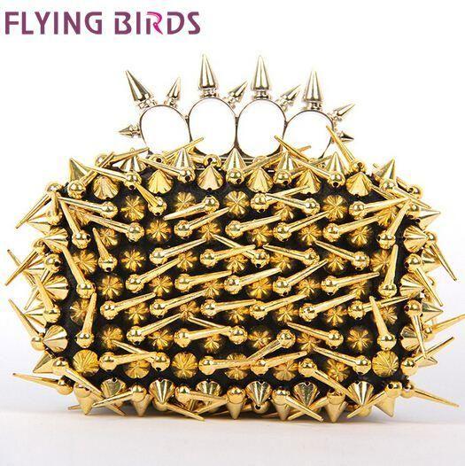 FLYING BIRDS! Hot sale women handbags Banquet evening bags messenger bags day clutch rivet bag free shipping LS5555