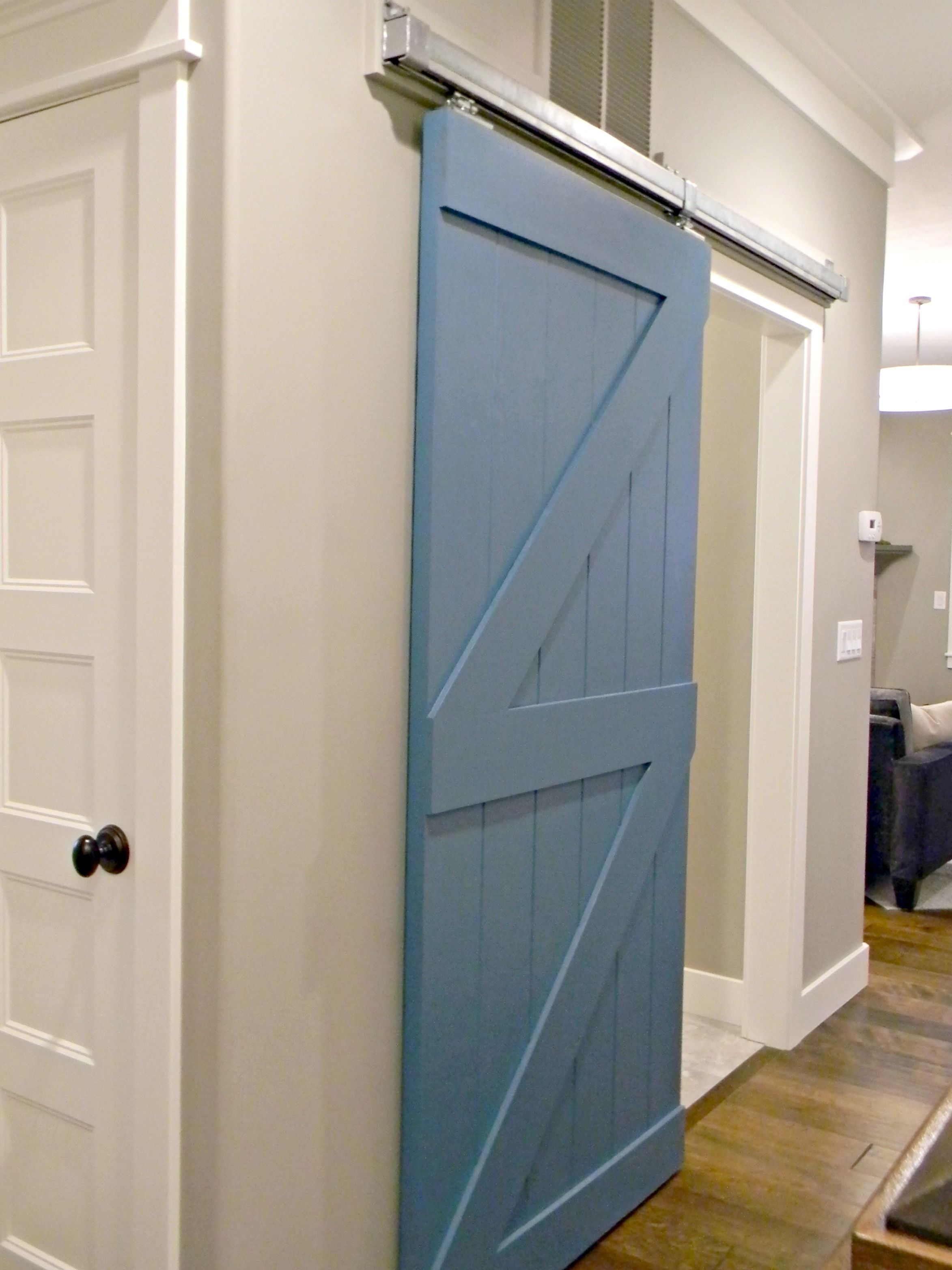 Sliding barn door to mud room diy blogger house at for Room door frame