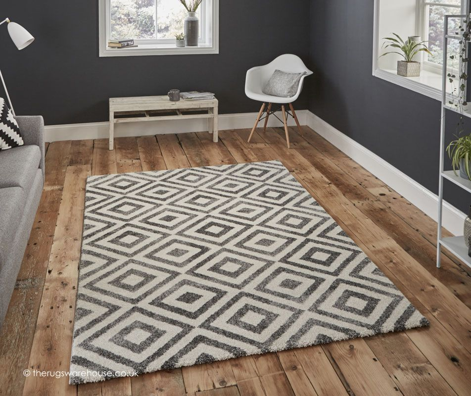 Soran Grey Rug A Geometric Pattern Modern In Shades Of White