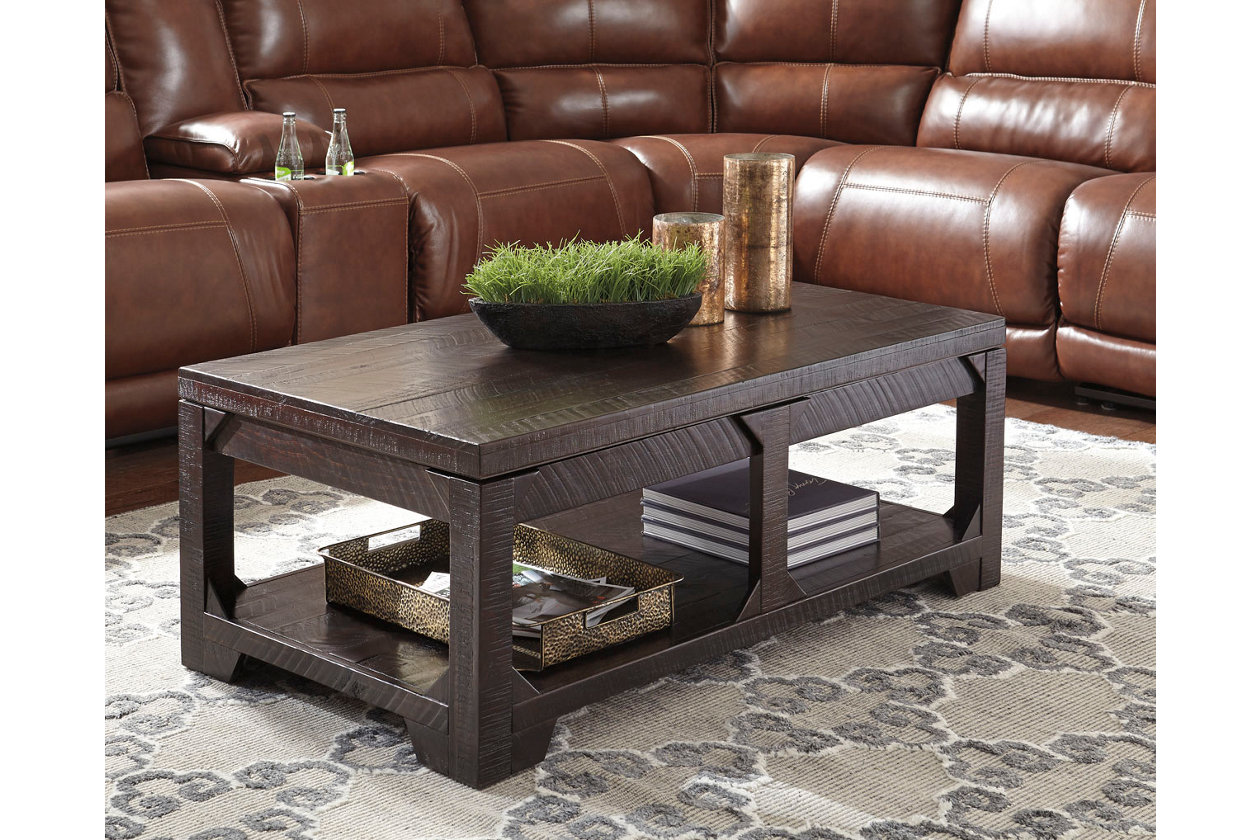Rogness Coffee Table With Lift Top Rustic Brown Coffee Table