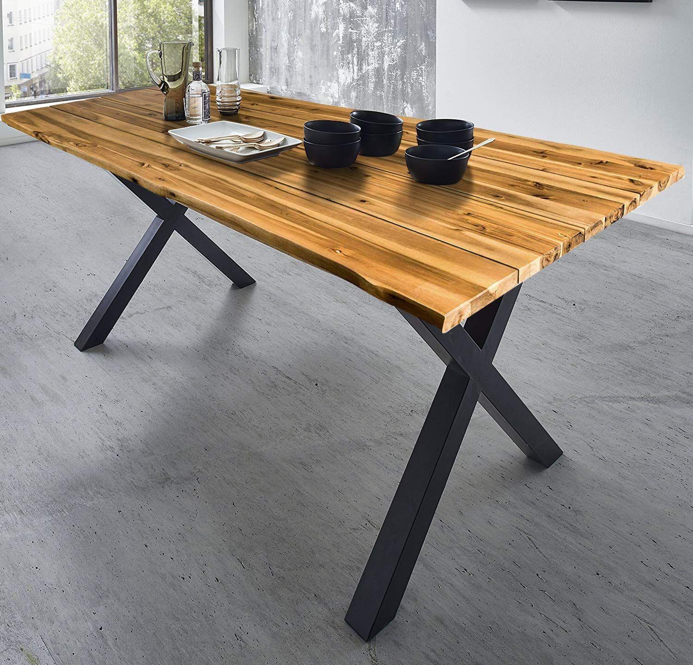 Baumkantentisch Massiver Esszimmertisch Akazienholz Echte Baumkante Wintergarten Mobel Tisch Esszimmertisch