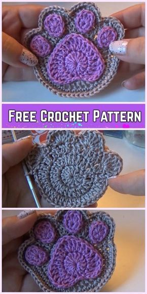 Crochet Paw Print Applique Free Pattern-Video - Nancy Maxwell #crochettutorial