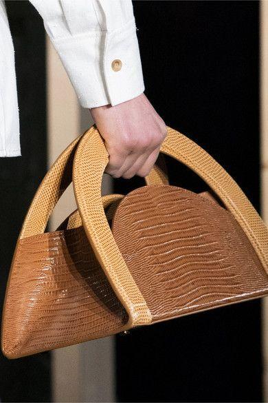 REJINA PYO  Arc twotone lizardeffect leather tote