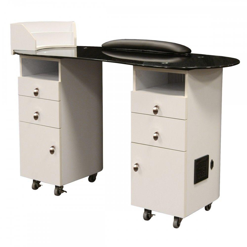 Lanier Manicure Table In White Back Manicure Table Table White Manicure