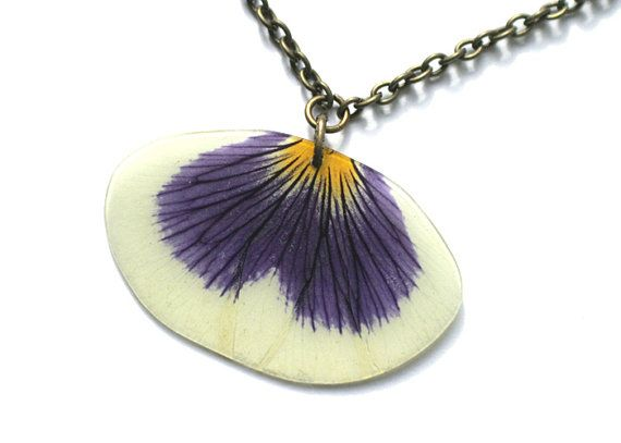 Real Blue and White Pansy - real petal necklace - botanical jewelry - Mother's Day - small pendant