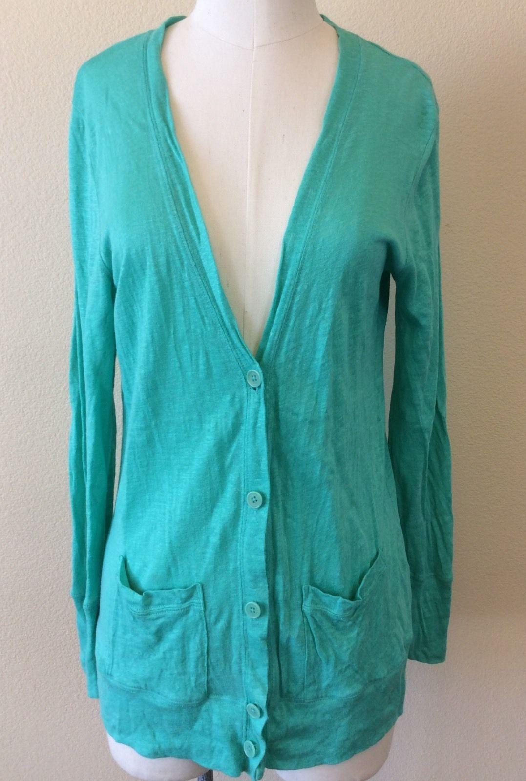 J. CREW Womens Teal Cardigan Sweater Long Sleeve 100% Linen Knit ...